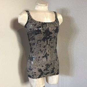 A/X Armani Exchange black/gray sequined tank top